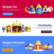 Religion Banner Set - stock illustration