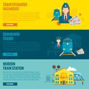 Railway Banner Set Stock Illustration