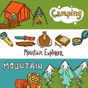 Camping Banners Horizontal Stock Illustration