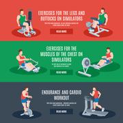 Stock Illustration of Exercise Machines Set