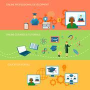 Online Education Banner Stock Illustration