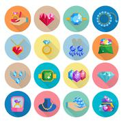 Precious Jewels Icons Flat - stock illustration