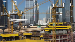 Dubai, construction site, business district, financial center Stock Footage