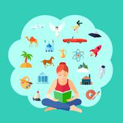 Reading Concept Illustration - stock illustration