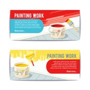 Painting Work Banners - stock illustration