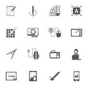 Graphic Design Black Icons Stock Illustration