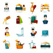 Stock Illustration of Hotel Maid Icons