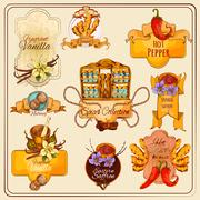 Stock Illustration of Spices Vintage Labels