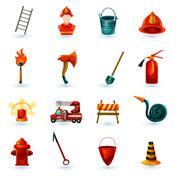 Firefighter Icons Set - stock illustration