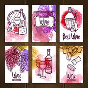 Stock Illustration of Wine Cards Set