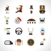 Car Safety System Icons Stock Illustration