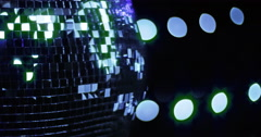 Mirrorball Disco Ball Blue Green Sparkle Left Stock Footage