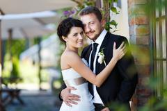 Happy bride and groom - stock photo