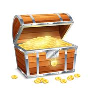 Chest With Coins - stock illustration