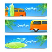 Surfing Banners Set - stock illustration