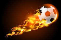 Soccer ball fire on black background Stock Illustration