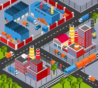 Factory Infrastructure Isometric Stock Illustration