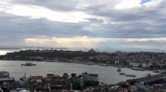 Istanbul Panoramic View With Rain Stock Footage
