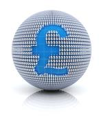 British pound sterling icon on globe formed by dollar sign, 3d render - stock illustration