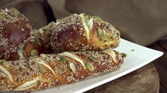 Pretzel Rolls (not loopable) Stock Footage