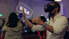 Viewing Hands in Virtual Reality at VRLA Stock Footage