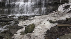 Water flowing at the base of a waterfall to the stream/ 4k nature footage Stock Footage