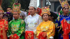 Group of people attending traditional festivals Stock Footage