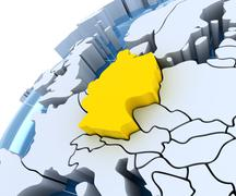 Globe with extruded continents, close-up on Germany - stock illustration