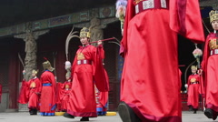 Traditional sacrifice ritual ceremony in Qufu Confucius temple Stock Footage