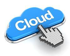 Hand cursor clicking a cloud button, 3d render - stock illustration