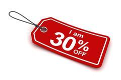 I am 30 percent off sale tag, 3d render - stock illustration