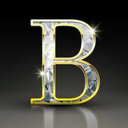 3d gorgeous diamond letter B - stock illustration