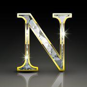 3d gorgeous diamond letter N - stock illustration