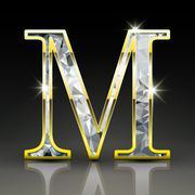 3d gorgeous diamond letter M - stock illustration