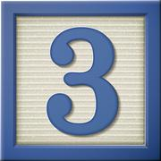 3d blue number block 3 - stock illustration
