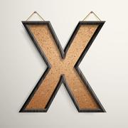 Stock Illustration of 3d wooden frame cork board letter X
