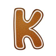 Stock Illustration of 3d lovely gingerbread cookie alphabet K