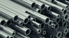 Looping Animation of Stack Steel Metal Tubes. Selective Focus Stock Footage