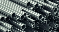 Close-up View of Looping Animation of Stack Steel Metal Tubes. Full HD Stock Footage