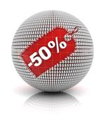 50 percent off sale tag on a sphere Stock Illustration