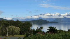 New Zealand Lake Manapouri hedge and distant mountains pan Stock Footage