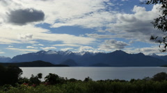 New Zealand Lake Manapouri islands across still water Stock Footage