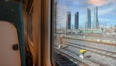 View Out Of The Window Of A Train. Madrid Financial Distict, Spain - stock footage
