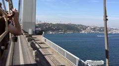 Istanbul Drive Along Bosphorus Bridge Stock Footage