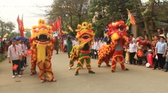 Group of people lion dance on the streets Stock Footage