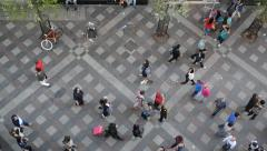 People Walking And Shopping, View From Above Stock Footage