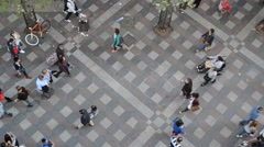 People Walking And Shopping, View From Above (with ambient sound) Stock Footage