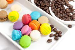 Coffee bean and mini macaroon colorful - stock photo