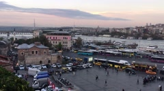 Istanbul Beyoglu Panoramic View At Dusk Stock Footage
