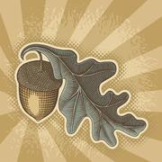 Acorn on sunbeam - stock illustration